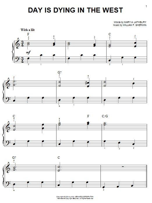 William F. Sherwin Day Is Dying In The West sheet music notes printable PDF score