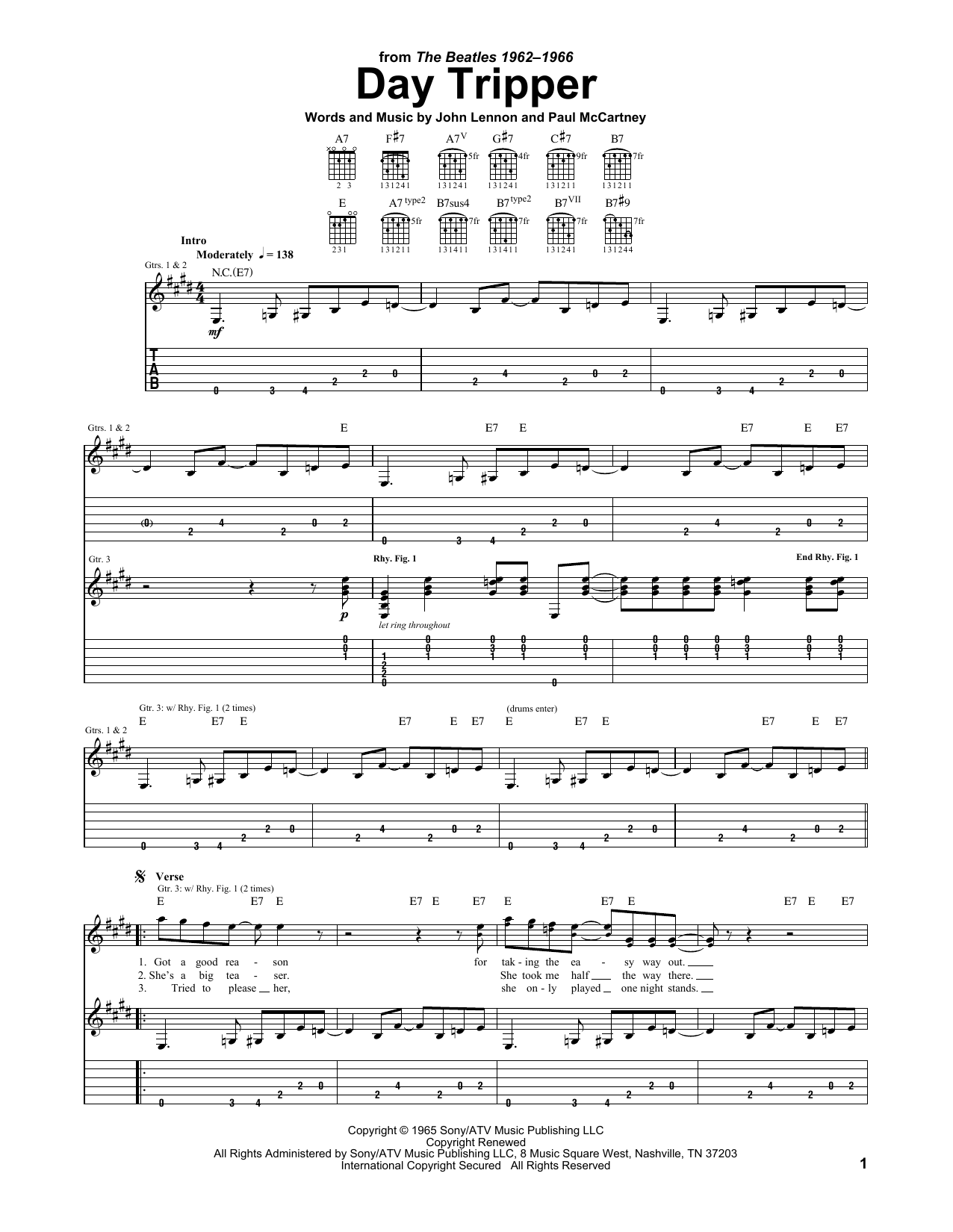 The Beatles Day Tripper sheet music notes printable PDF score
