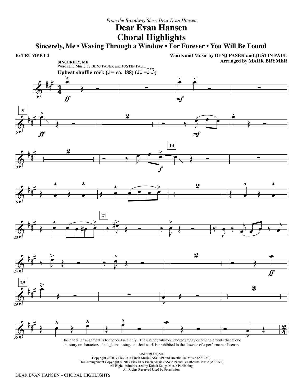 Mark Brymer Dear Evan Hansen (Choral Highlights) - Bb Trumpet 2 sheet music notes printable PDF score