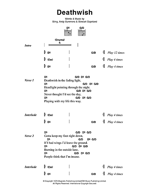 The Police Deathwish sheet music notes printable PDF score