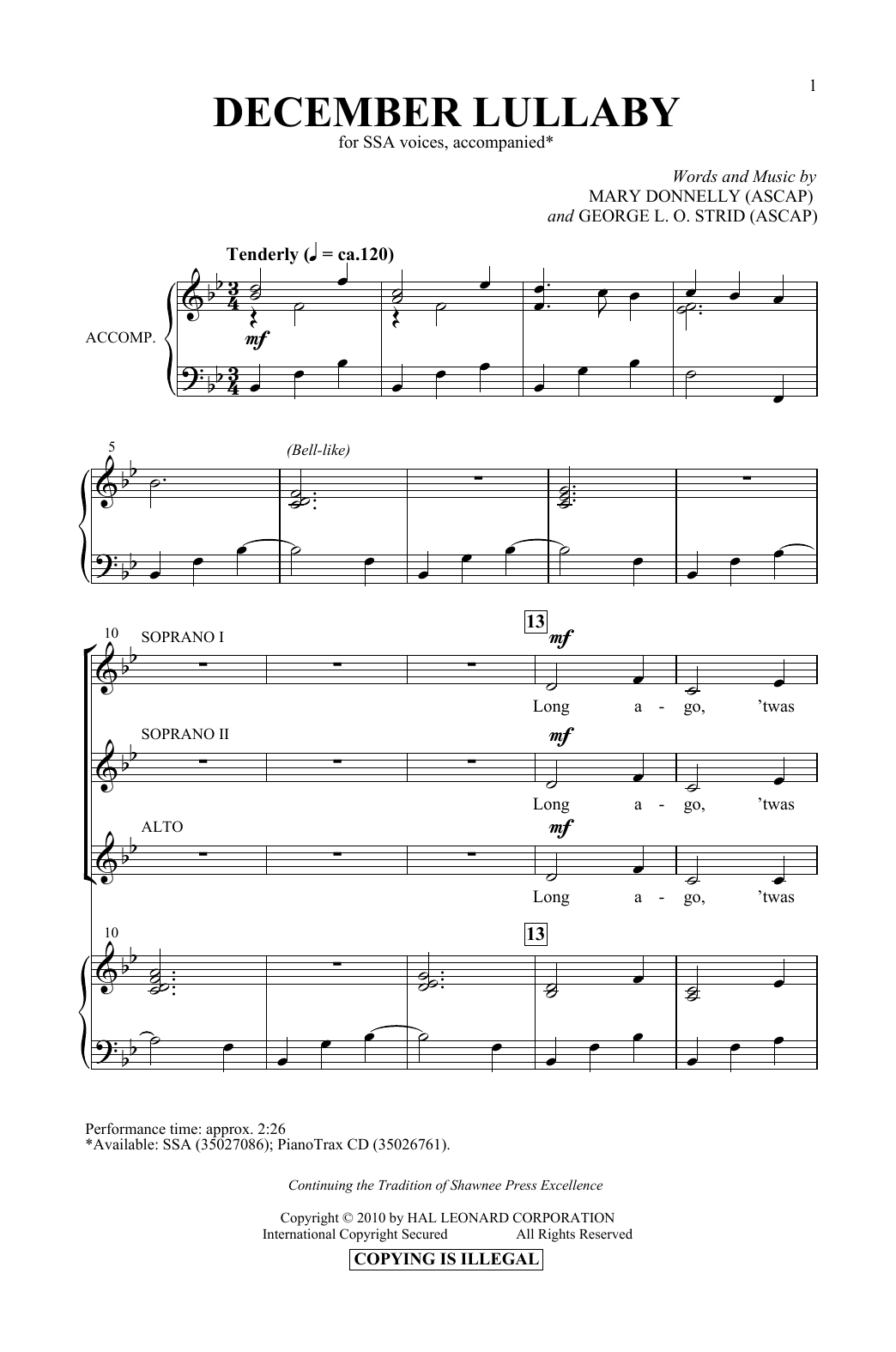 Mary Donnelly & George L.O. Strid December Lullaby sheet music notes printable PDF score