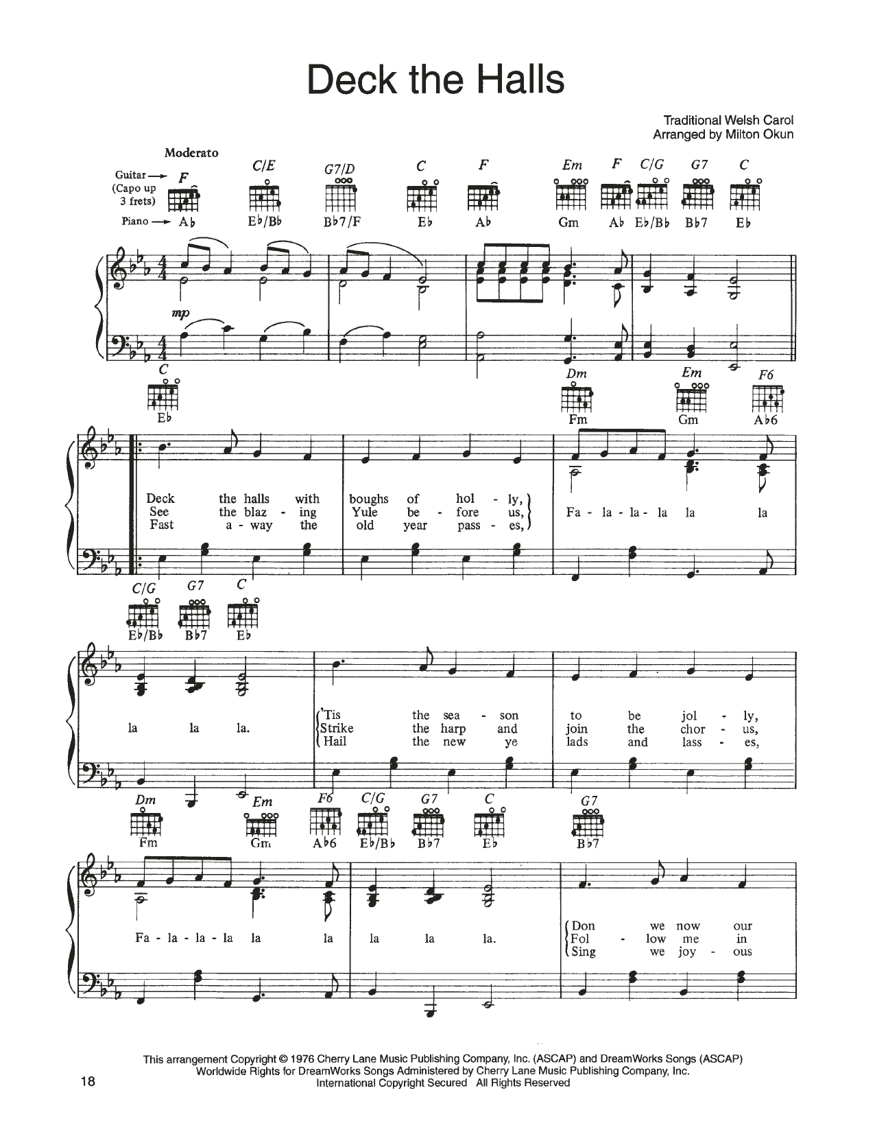 John Denver and The Muppets Deck The Halls (from A Christmas Together) sheet music notes printable PDF score