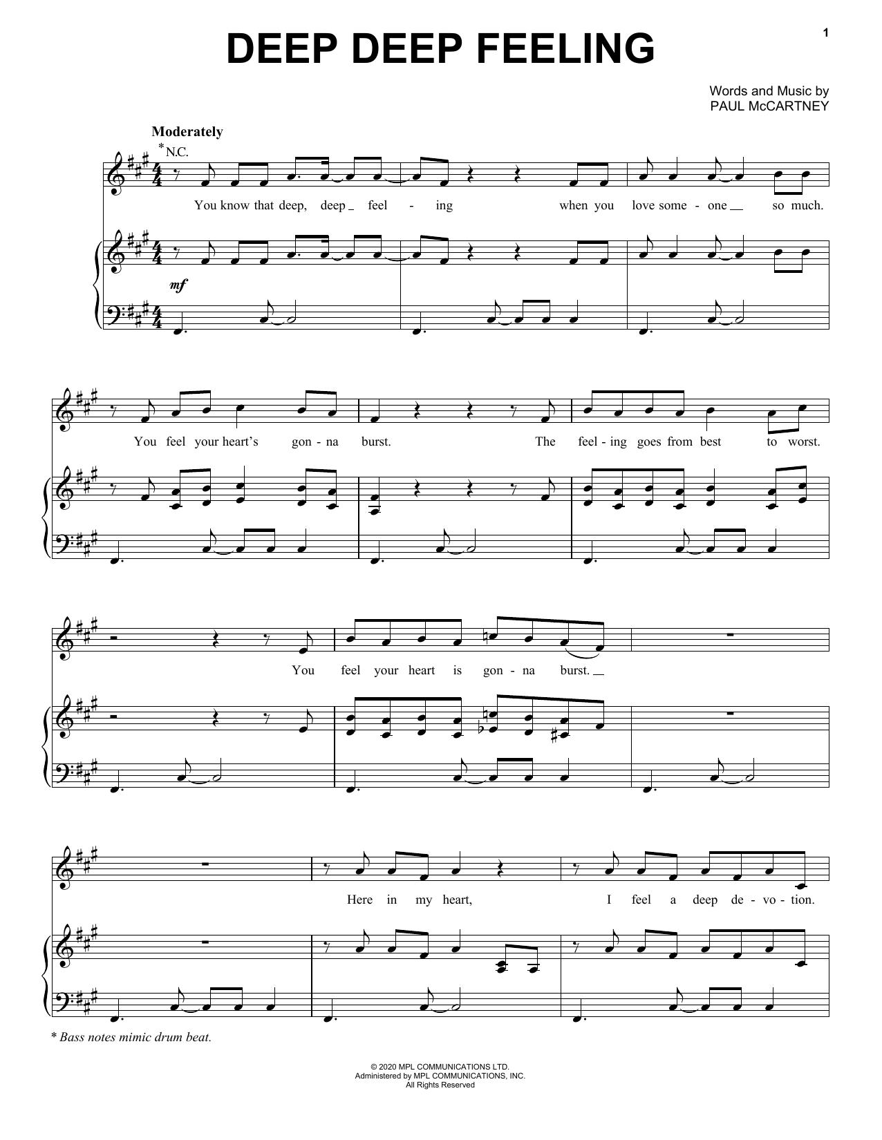 Paul McCartney Deep Deep Feeling sheet music notes printable PDF score