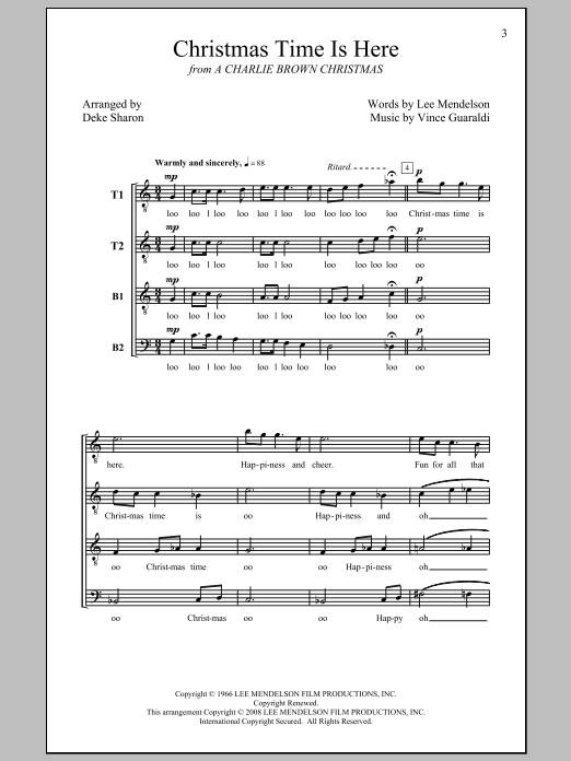 Deke Sharon Christmas Time Is Here sheet music notes and chords - download printable PDF.