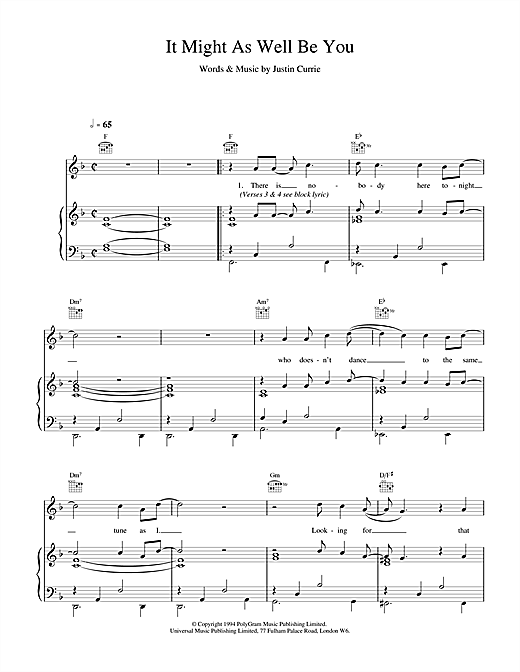 Del Amitri It Might As Well Be You sheet music notes printable PDF score