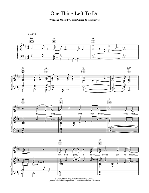 Del Amitri One Thing Left To Do sheet music notes printable PDF score
