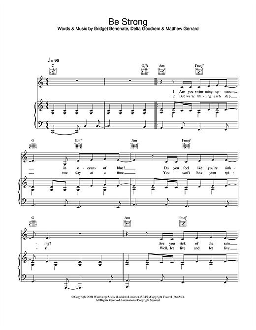 Delta Goodrem Be Strong sheet music notes printable PDF score