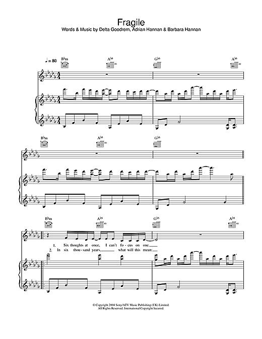 Delta Goodrem Fragile sheet music notes printable PDF score