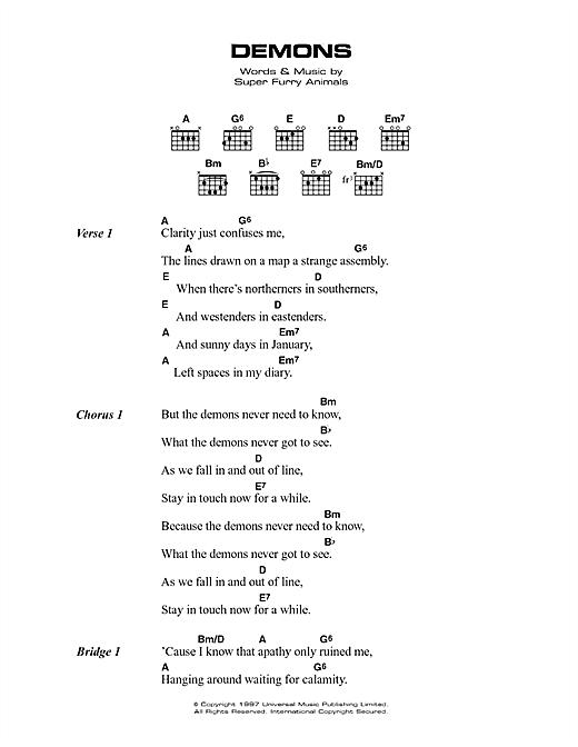 Super Furry Animals Demons sheet music notes printable PDF score
