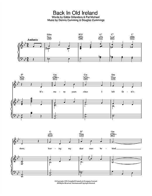 Dennis Cummings Back In Old Ireland sheet music notes printable PDF score