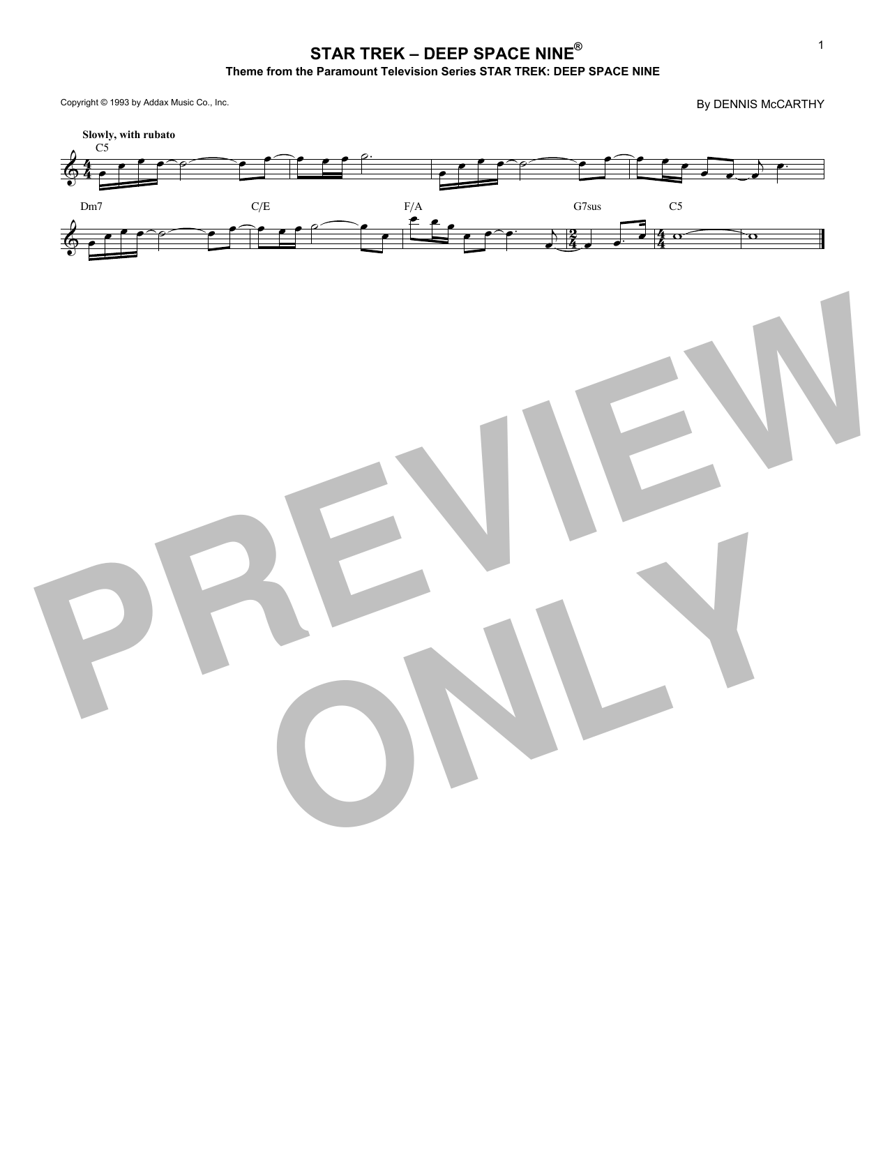 Dennis McCarthy Star Trek - Deep Space Nine sheet music notes and chords. Download Printable PDF.