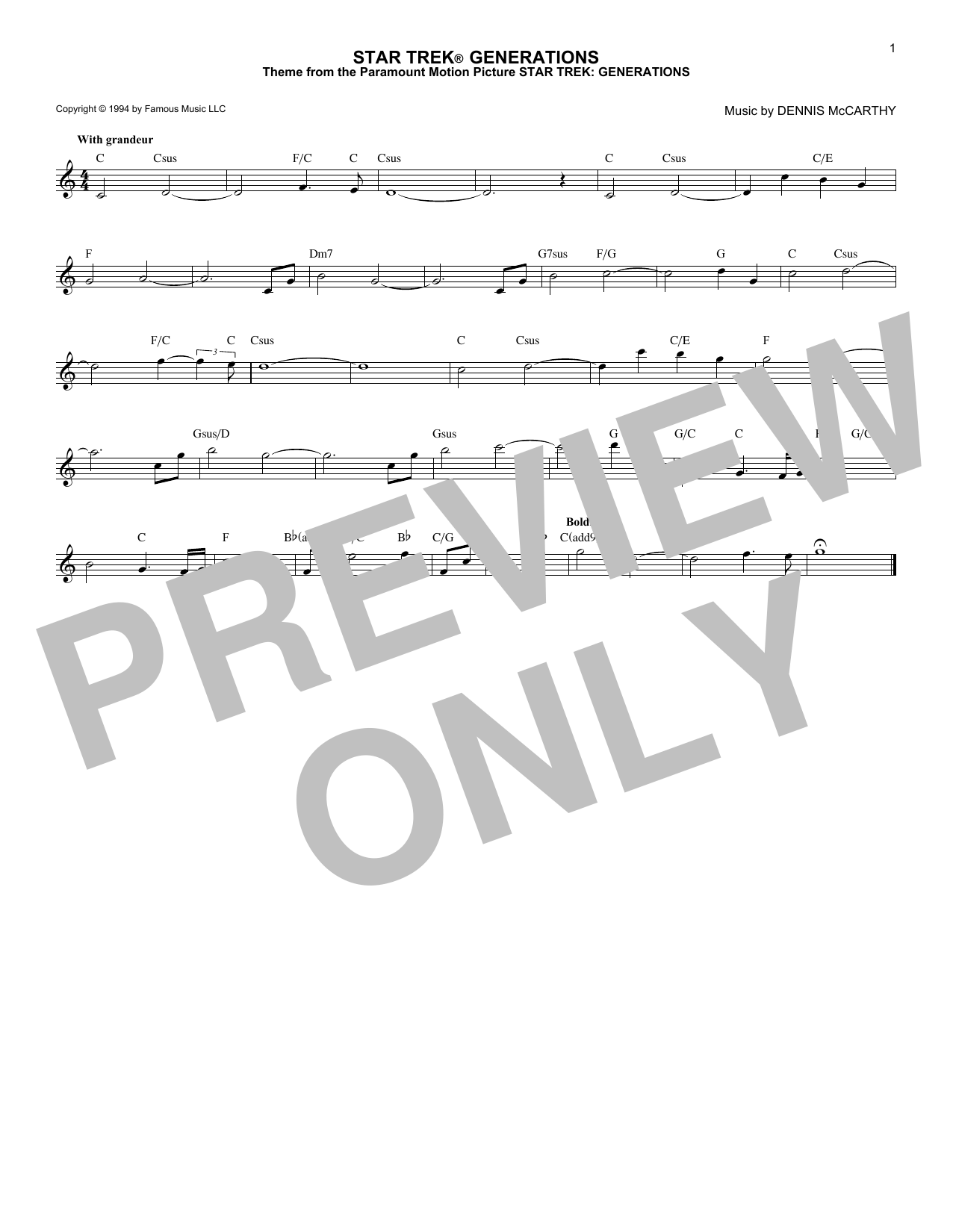 Dennis McCarthy Star Trek Generations sheet music notes and chords - download printable PDF.