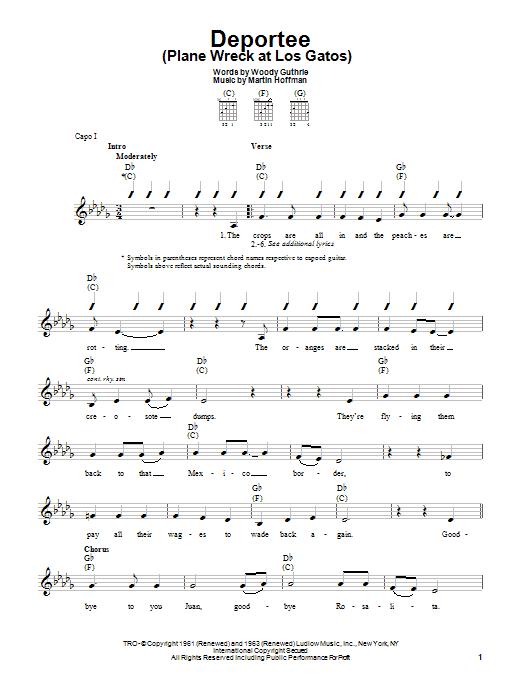 Woody Guthrie Deportee (Plane Wreck At Los Gatos) sheet music notes printable PDF score