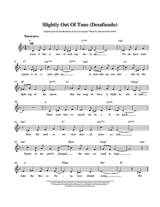 Antonio Carlos Jobim Desafinado (Slightly Out Of Tune) sheet music notes printable PDF score