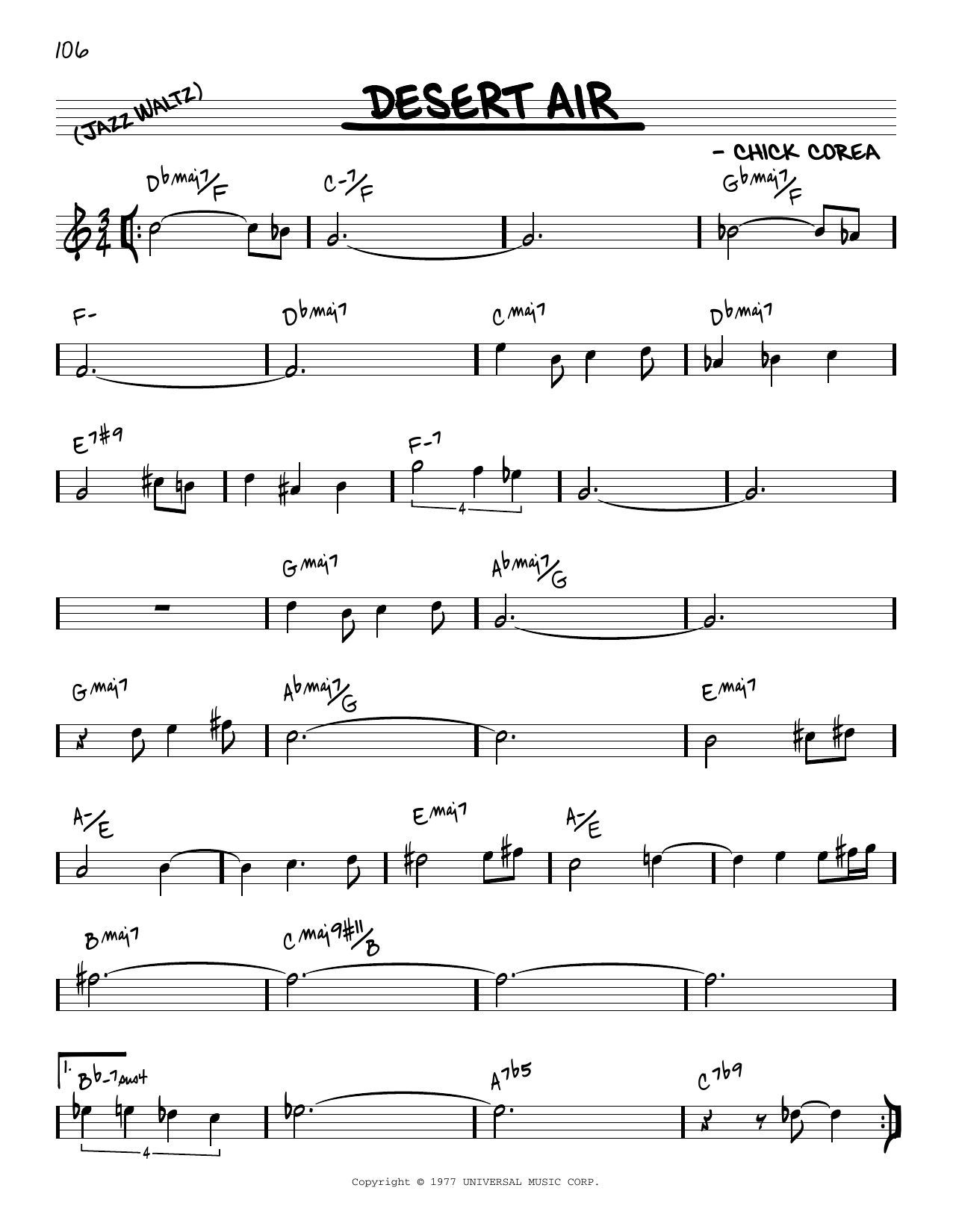 Chick Corea Desert Air [Reharmonized version] (arr. Jack Grassel) sheet music notes printable PDF score