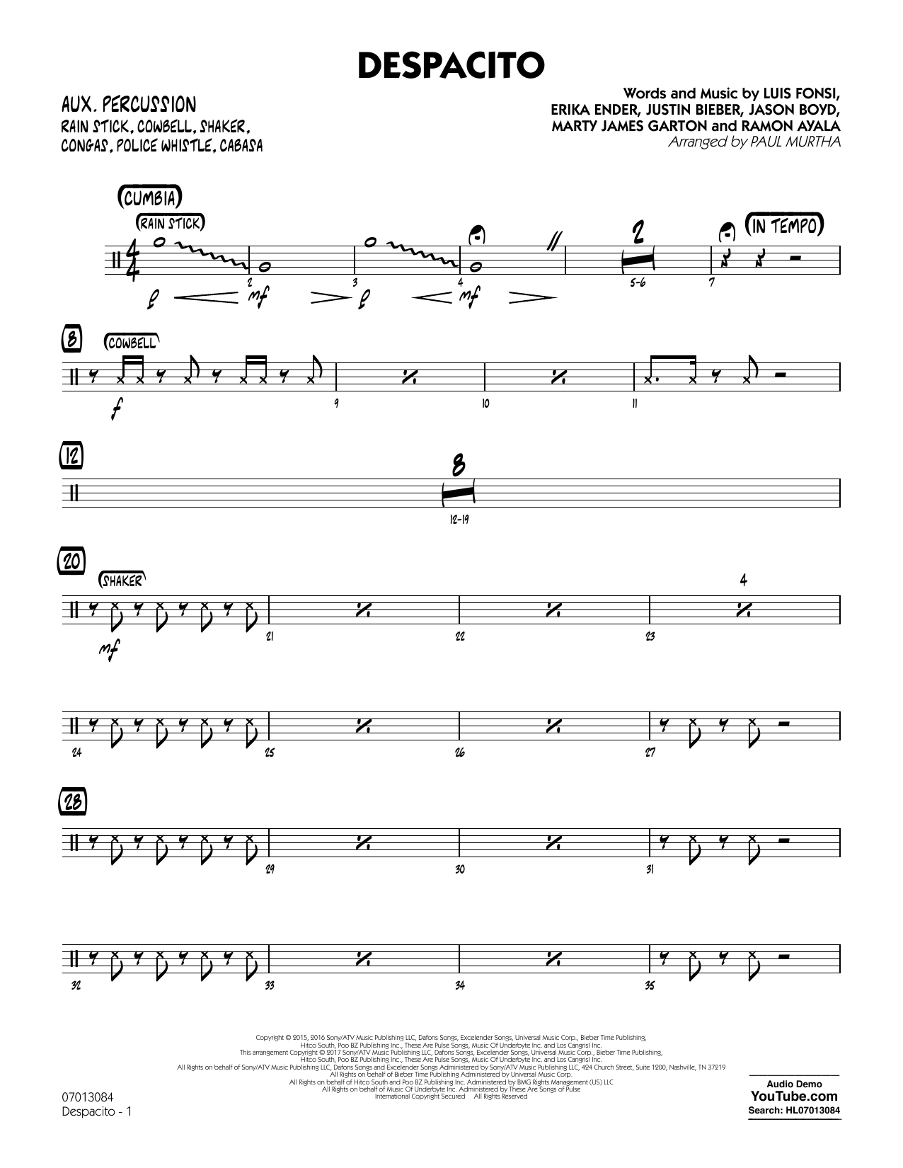 Luis Fonsi & Daddy Yankee feat. Justin Bieber Despacito (arr. Paul Murtha) - Aux Percussion sheet music notes printable PDF score