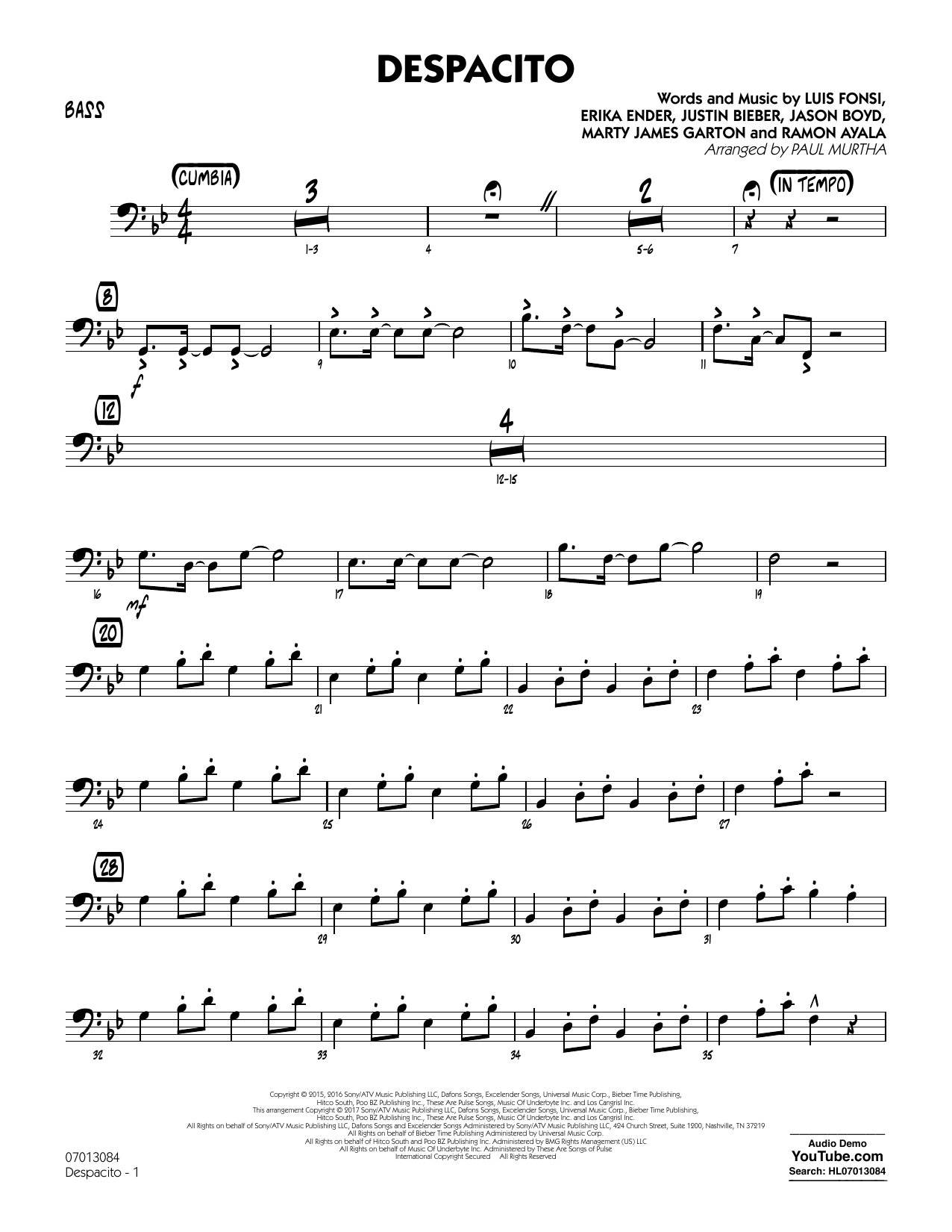Luis Fonsi & Daddy Yankee feat. Justin Bieber Despacito (arr. Paul Murtha) - Bass sheet music notes printable PDF score