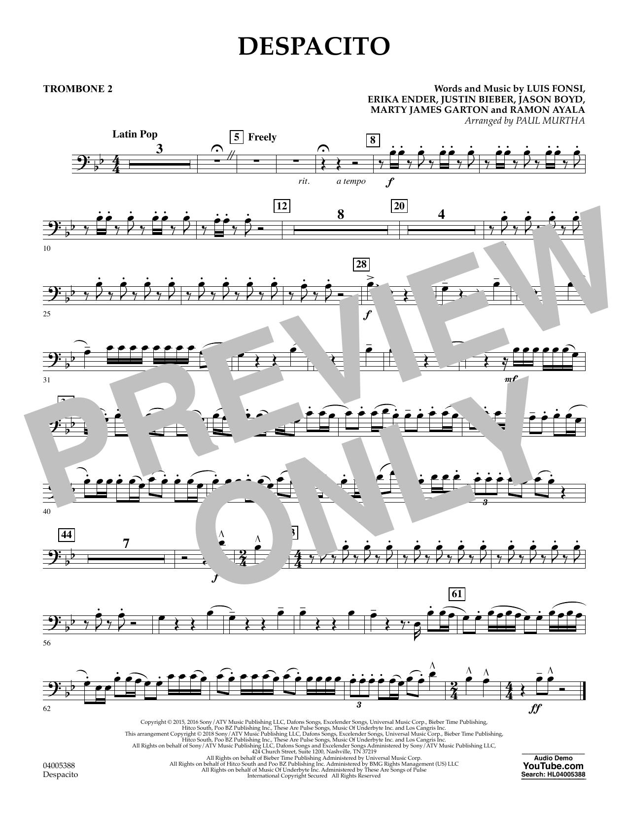 Luis Fonsi & Daddy Yankee feat. Justin Bieber Despacito (arr. Paul Murtha) - Trombone 2 sheet music notes printable PDF score