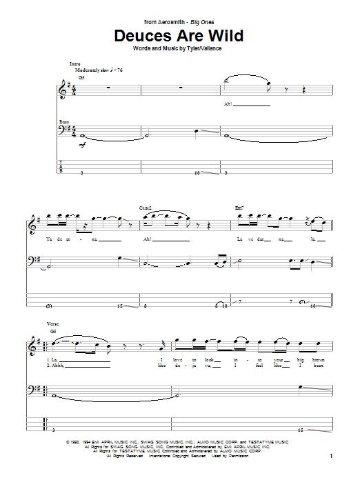 Aerosmith Deuces Are Wild sheet music notes printable PDF score