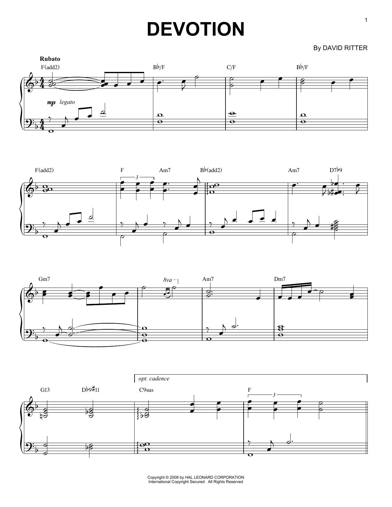 David Ritter Devotion sheet music notes printable PDF score