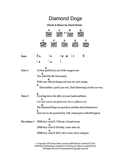David Bowie Diamond Dogs sheet music notes printable PDF score