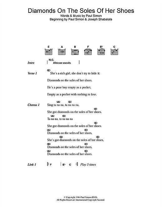 Paul Simon Diamonds On The Soles Of Her Shoes sheet music notes printable PDF score