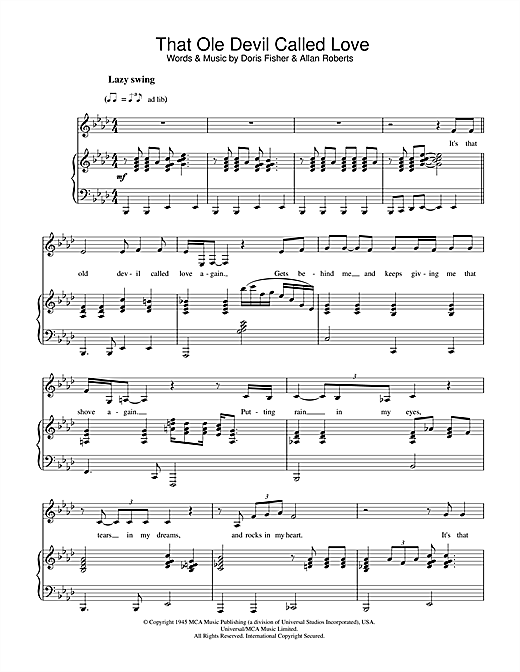 Diana Krall That Ole Devil Called Love sheet music notes printable PDF score