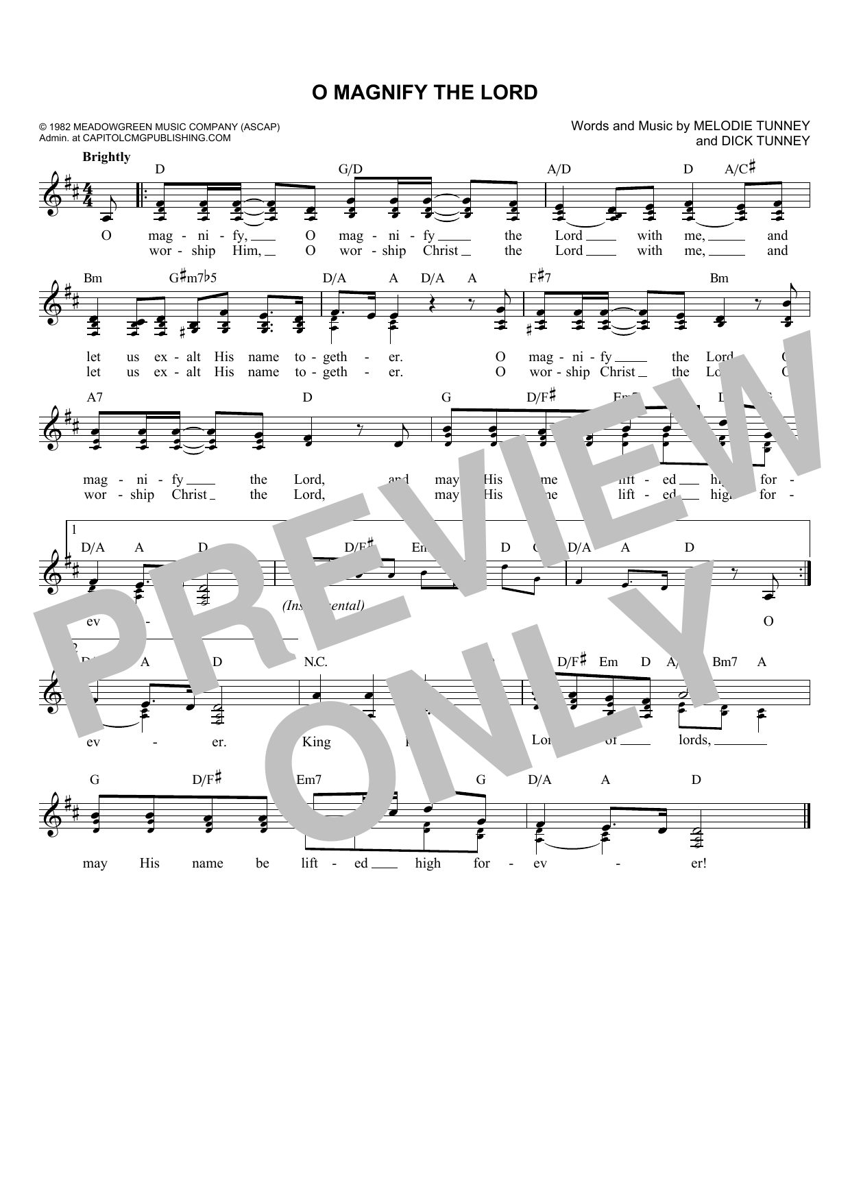 Dick & Mel Tunney O Magnify The Lord sheet music notes and chords. Download Printable PDF.