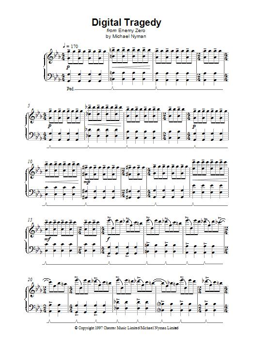 Michael Nyman Digital Tragedy (from Enemy Zero) sheet music notes printable PDF score