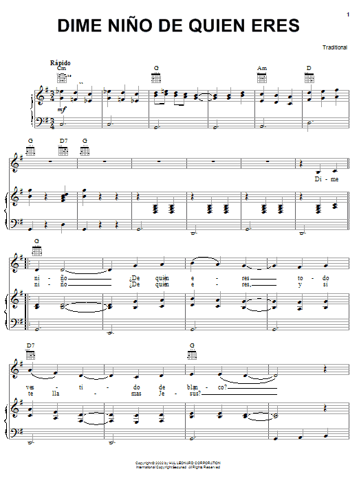 Traditional Dime Nino De Quien Eres sheet music notes printable PDF score