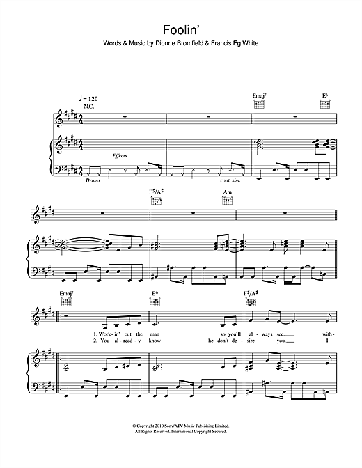 Dionne Bromfield Foolin' sheet music notes and chords - download printable PDF.