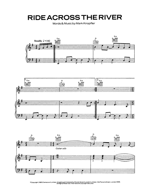 Dire Straits Ride Across The River sheet music notes and chords. Download Printable PDF.