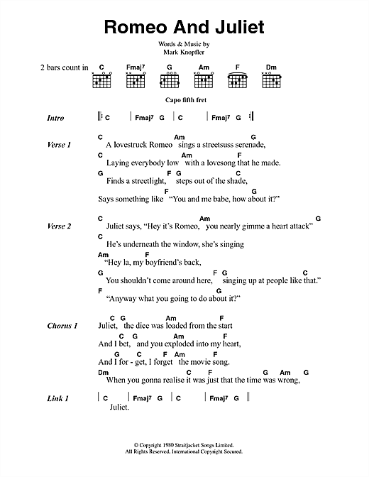 Dire Straits Romeo And Juliet sheet music notes and chords. Download Printable PDF.