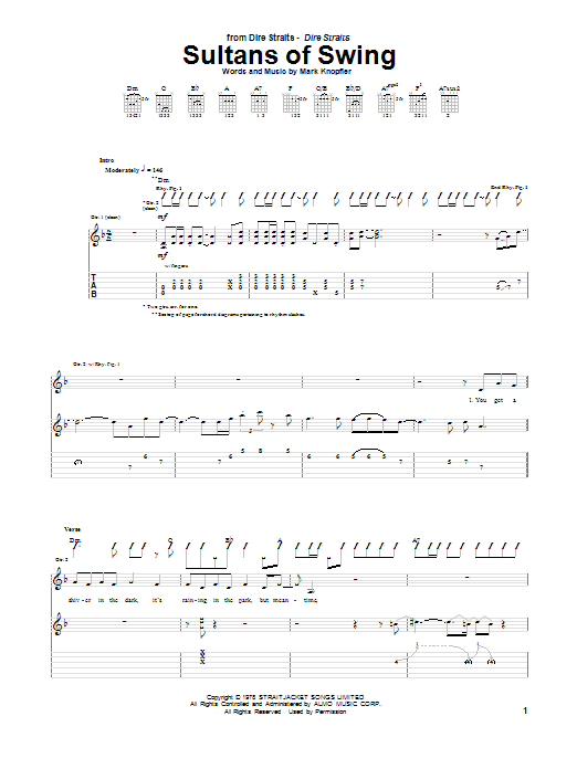 Dire Straits Sultans Of Swing sheet music notes printable PDF score