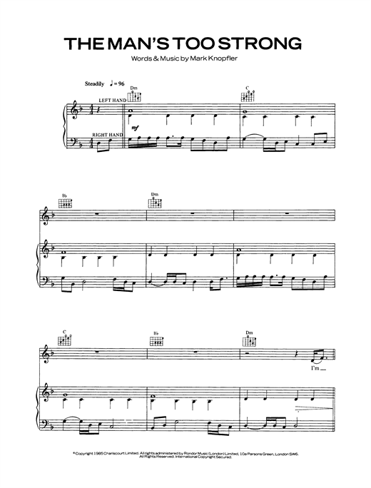 Dire Straits The Man's Too Strong sheet music notes and chords - download printable PDF.