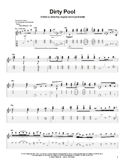 Stevie Ray Vaughan Dirty Pool sheet music notes printable PDF score