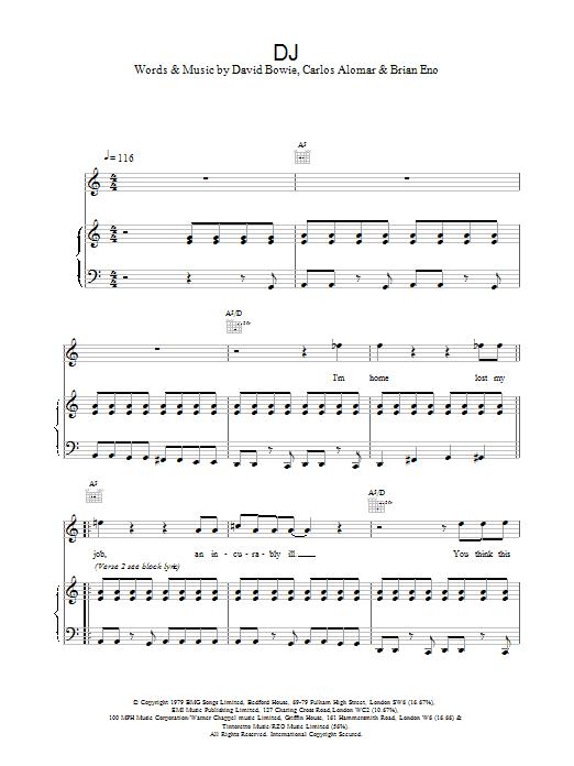 David Bowie DJ sheet music notes printable PDF score