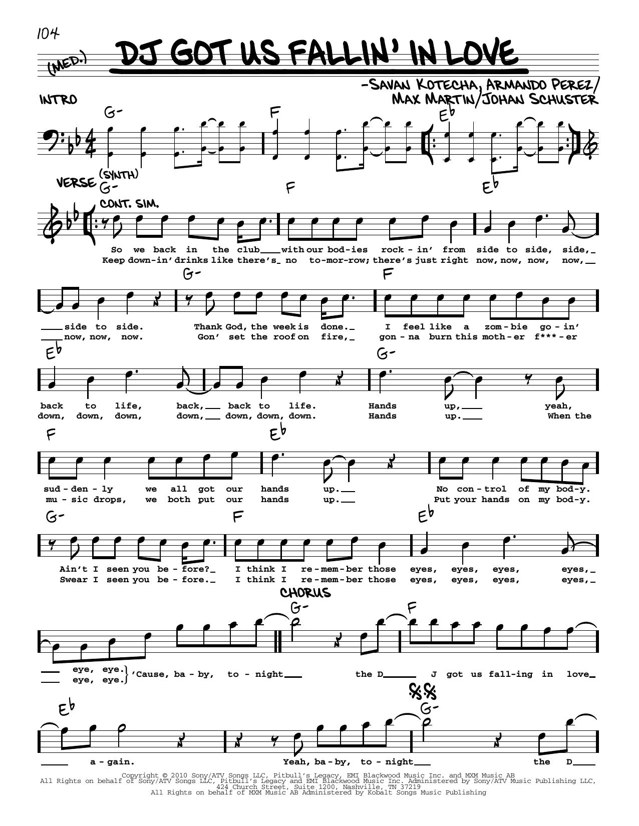 Usher featuring Pitbull DJ Got Us Fallin' In Love sheet music notes printable PDF score