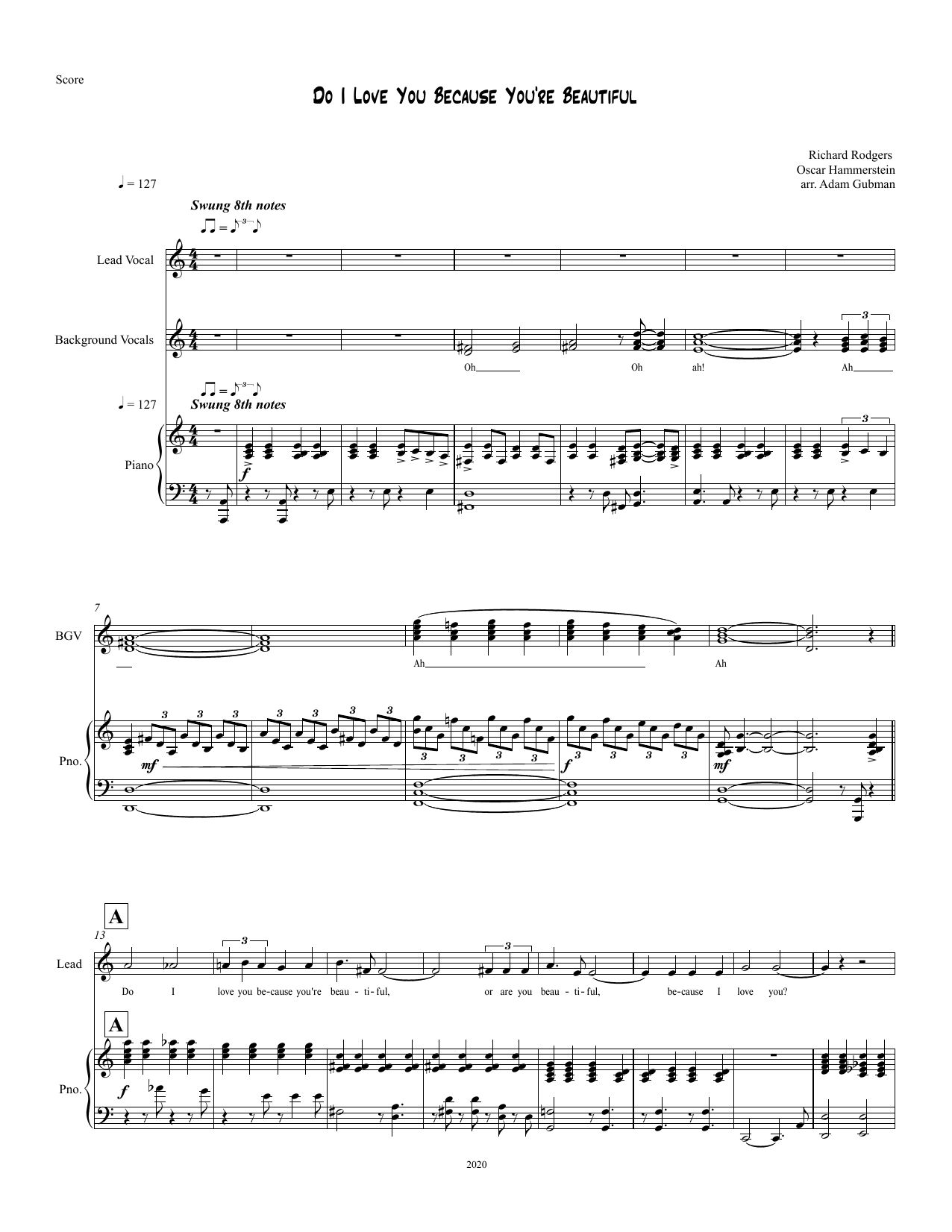Rodgers & Hammerstein Do I Love You Because You're Beautiful? [R&H Goes Pop! version] (from Cinderella) sheet music notes printable PDF score