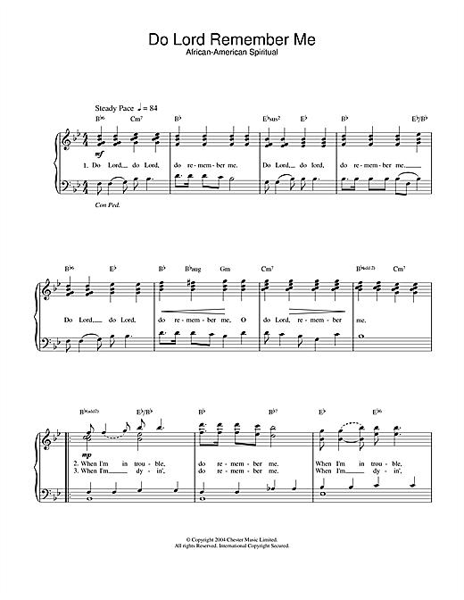 African-American Spiritual Do Lord Remember Me sheet music notes printable PDF score