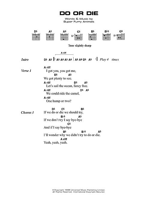 Super Furry Animals Do Or Die sheet music notes printable PDF score