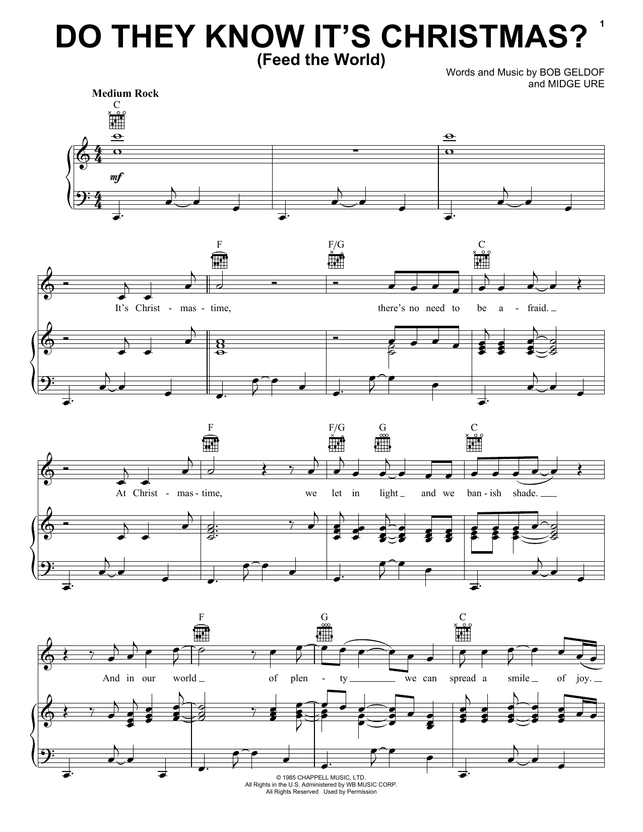 Band Aid Do They Know It's Christmas? sheet music notes printable PDF score