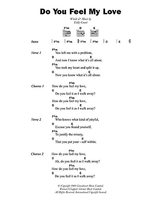 Eddy Grant Do You Feel My Love sheet music notes printable PDF score