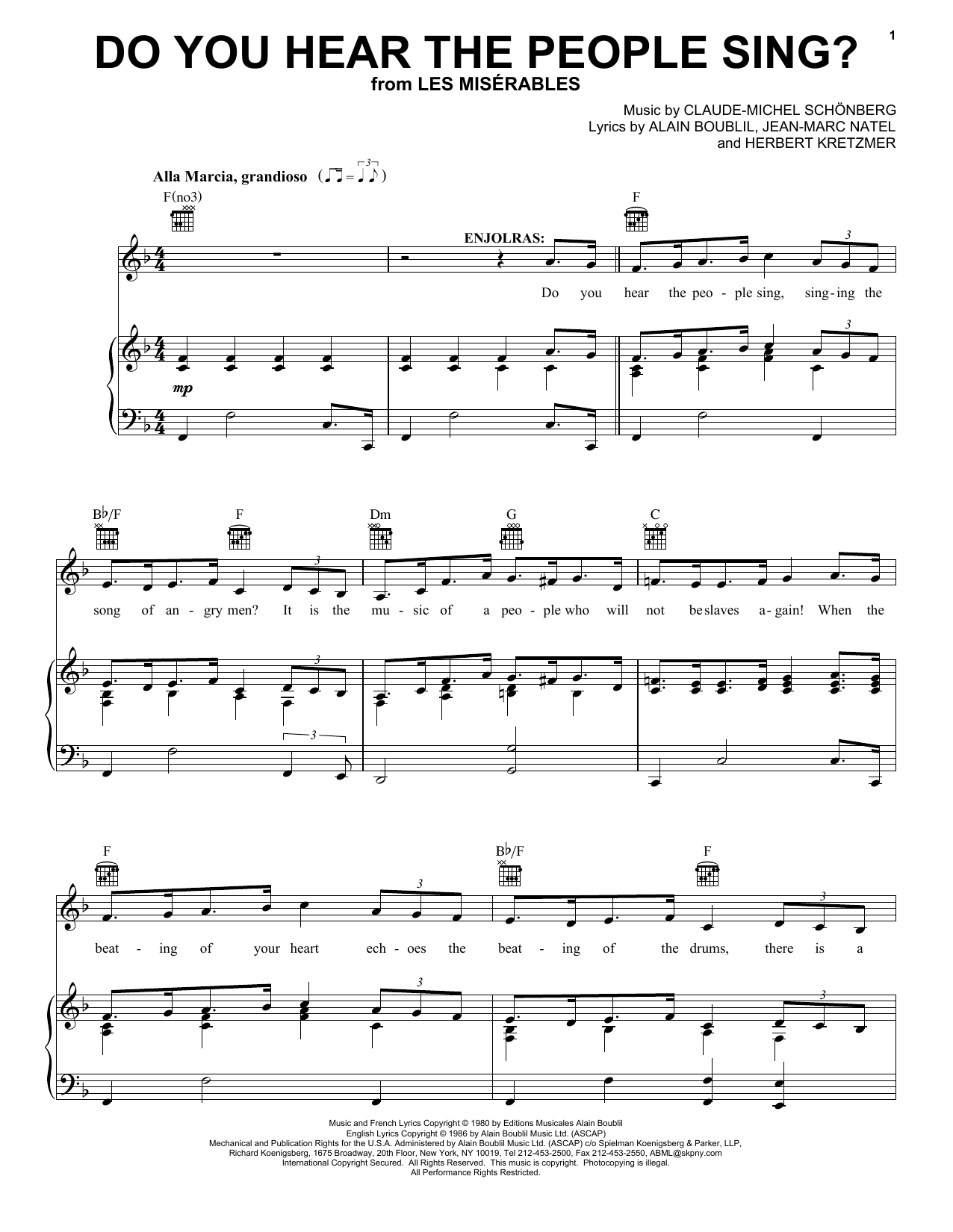 Alain Boublil Do You Hear The People Sing? sheet music notes printable PDF score