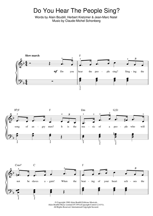 Boublil and Schonberg Do You Hear The People Sing? (from Les Miserables) sheet music notes printable PDF score