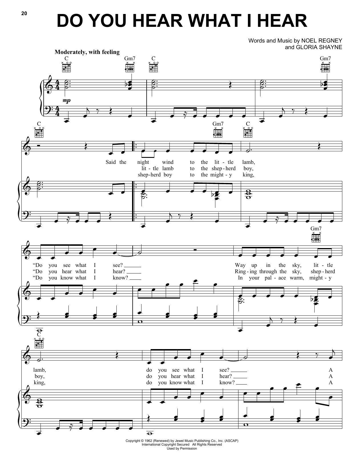 Gloria Shayne Do You Hear What I Hear sheet music notes printable PDF score