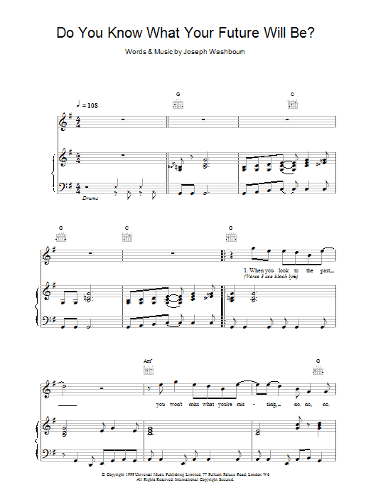 Toploader Do You Know What Your Future Will Be? sheet music notes printable PDF score