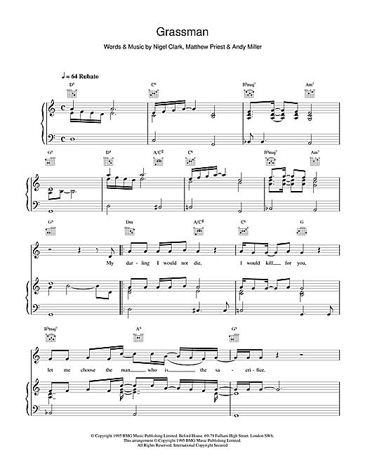 Dodgy Grassman sheet music notes printable PDF score
