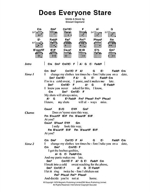 The Police Does Everyone Stare sheet music notes printable PDF score