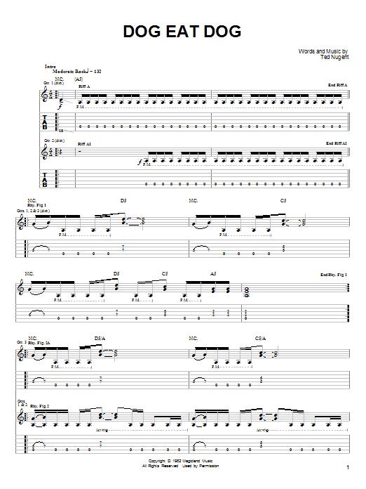 Ted Nugent Dog Eat Dog sheet music notes printable PDF score